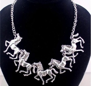 Silver Running Horses Bib Necklace Free Shipping