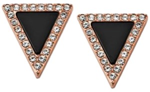 Michael Kors Earrings Michael Kors Rose Gold/Black Pave Triangle Stud Earrings