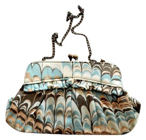 Gap Gold Ruffle Turquoise & Brown Clutch