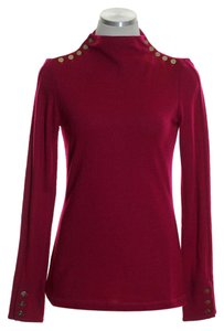 Elizabeth McKay Buttons Stretch Knit Long Sleeve Sweater