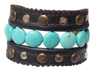 Ghost Holler Studio Genuine Handmade Studded Leather Prayers & Planets Cuff Bracelet