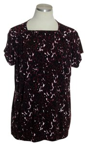 St. John Stretch Knit Animal Print Cap Sleeve Top Purple