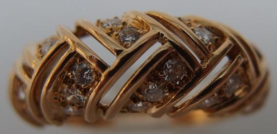 Cartier Rare Authentic Cartier 18K Yellow Gold Diamond Ladies Domed Ring US SIZE 6.5, EU53