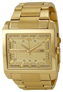 A|X Armani Exchange ARMANI EXCHANGE AX2208 Men's Gold Ion-Plated Rectangular Watch
