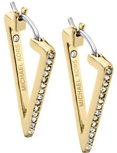 Michael Kors Earrings Michael Kors Gold Tone Pave Triangle Hoop Earrings MKJ4044