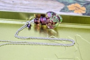 Purple Blown Glass Perfume Bottle Necklace Free Shipping