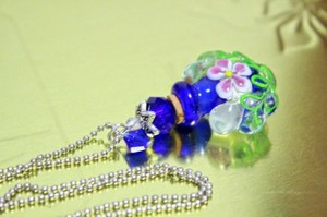 Blue Blown Glass Perfume Bottle Pendant Extra Long Chain Free Shipping