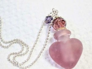 Frosted Purple Blown Glass Heart Perfume Bottle Necklace Free Shipping