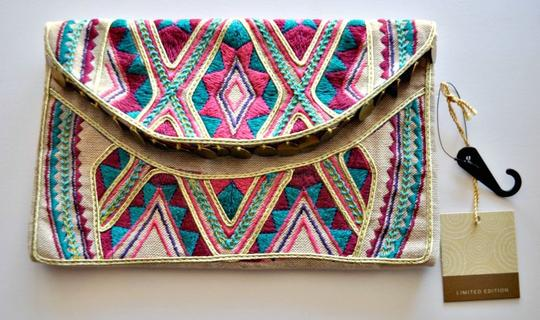Target Limited Edition Embroidered Pink, Canvas & Multi Clutch