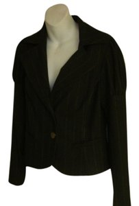 Alice + Olivia & Leather Trim Pinstripe CHARCOAL Blazer