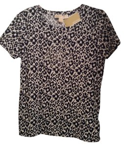 Michael Kors Leopard T Designer T T Shirt Black and White