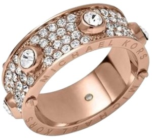 Michael Kors Pave Studded Rose Gold Tone Ring, Size 7