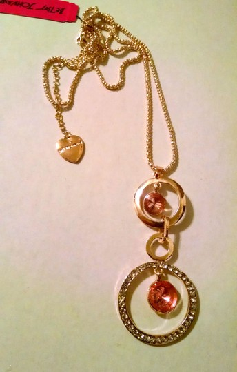 Betsey Johnson New Betsey Johnson Connected Circles Necklace Gold Tone Pink J1226
