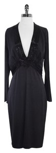 Gucci Charcoal Black Silk Beaded Long Sleeve Dress
