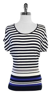Escada Navy White Striped Short Sleeve Top