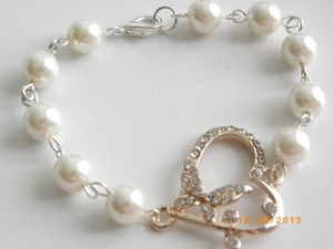 Other White Pearl Bracelet Butterfly Charm Heart Rhinestone Crystal Bridesmaid Jewelry