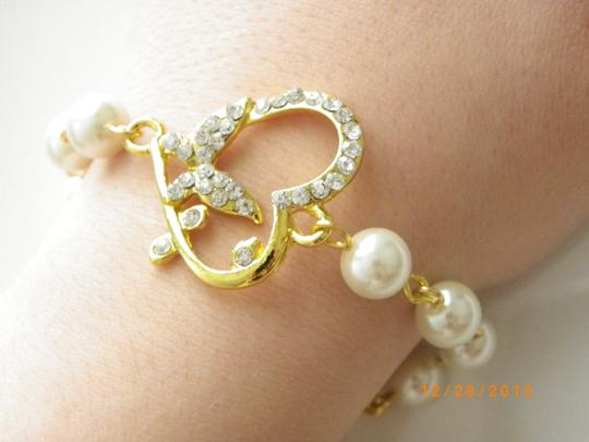 White Pearl Butterfly Charm Heart Rhinestone Crystal Bridesmaid Bracelet