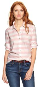 Gap Button Down Shirt Pink and white stripes