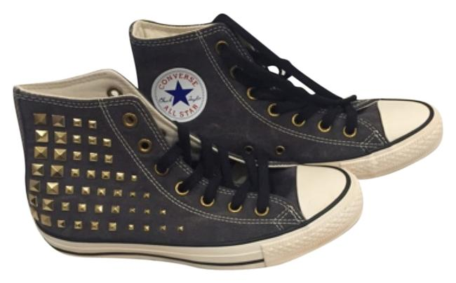 Item - Grey with Gold Studs High Tops Sneakers Size US 8 Regular (M, B)