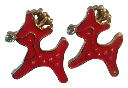 Other Petite Retro Style Baby Red Deer Gold Filled Earrings
