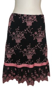 Betsey Johnson Floral Skirt Black Pink