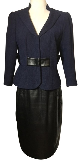Item - Sapphire/Black Sapphire/Leather Skirt Suit Size 6 (S)