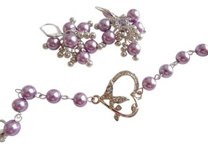 purple pearl bracelet , butterfly charm, heart, rhinestone, crystal ,bridesmaid jewelry, Valentine's day bracelet
