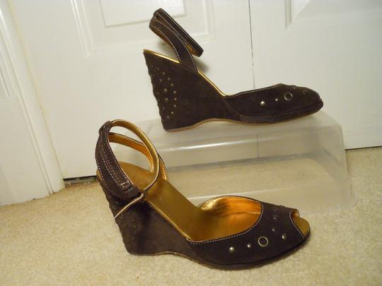 Calzaturifico Marco Leather Suede Studded Wedge brown Sandals