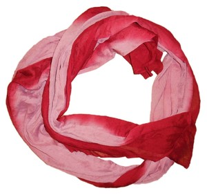 Two-Tone Red Pink Sheer Thin Boho Scarf Shawl Wrap