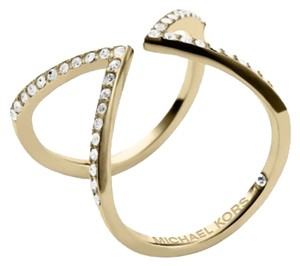 Michael Kors NWT MICHAEL KORS MKJ3749 GOLD TONE OPEN ARROW PAVE EMBELLISHED RING 8 W DUST BAG