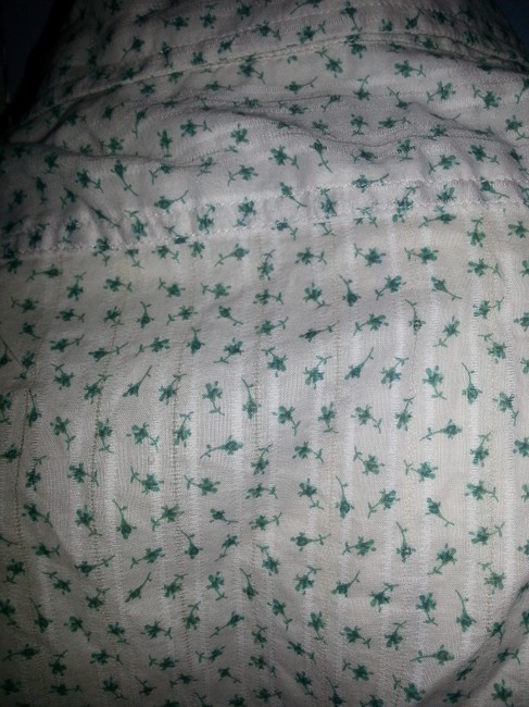 Banana Republic Button Down Shirt green & blue floral on ivory