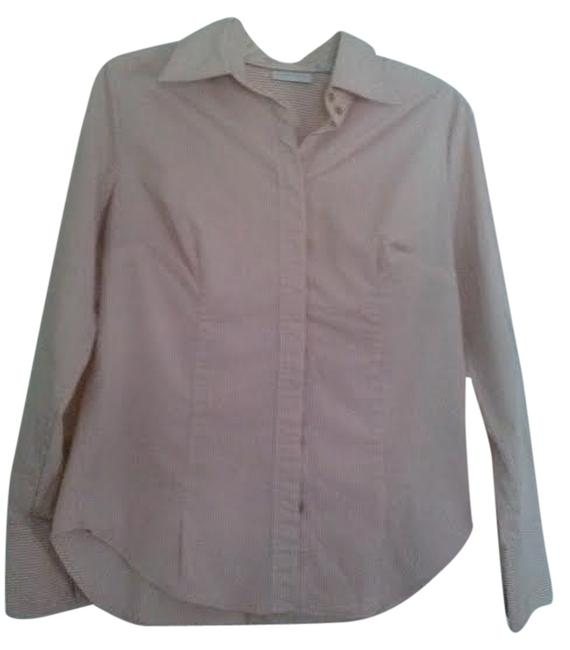 New York & Company Button Down Shirt Pink and White