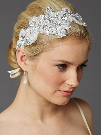 Soft Ivory Silver Sequin Lace Headband Hair Accessory