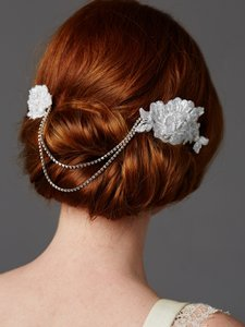Soft Ivory Double English Rose White Lace Combs with Draping Crystal Swags Hair Accessory