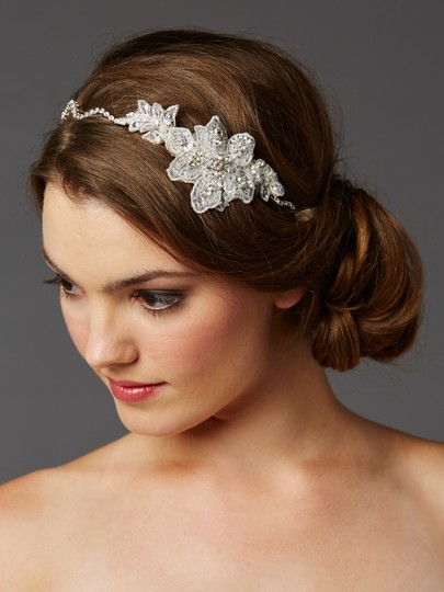 Soft Ivory Crystal Hand Wired Wavy Headband with Fine European Lace Hair Accessory
