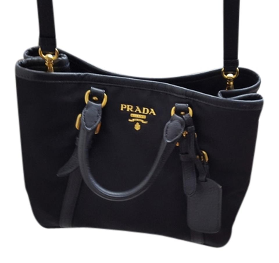 18cb68303ca3 Prada Bauletto Aperto / Tessuto Bn1841 Black Nylon Leather Satchel ...