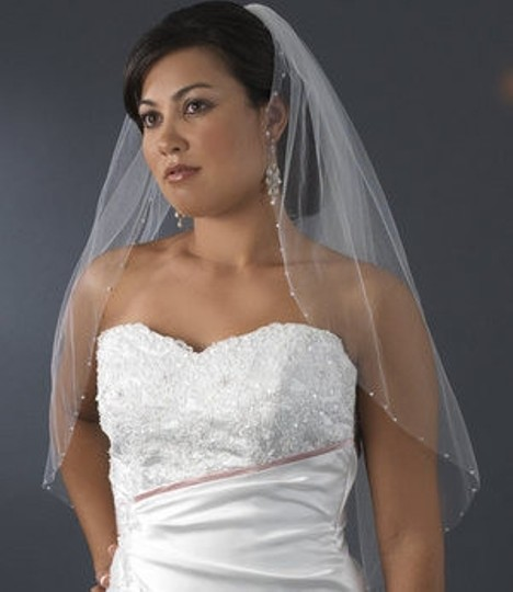 White Medium Swarovski Crystal Edged Bridal Veil