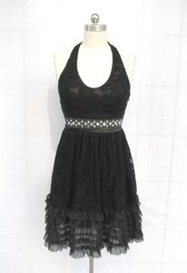 Black Chiffon Rose Lace Halter Floral Lace with Sequins Detail Casual Bridesmaid/Mob Dress Size 8 (M)