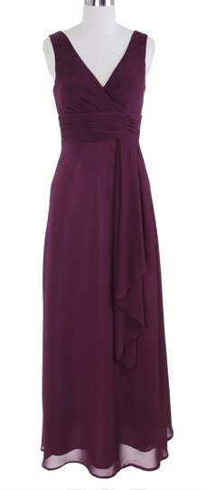 Purple Chiffon Long Draping V-neck Size:med Formal Dress Size 8 (M)