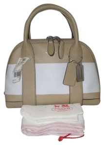 Coach Satchel in Tan / White