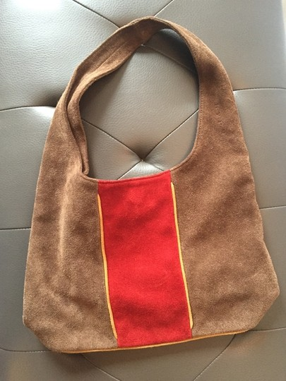 Hype Suede Casual Red Stripe Hobo Bag