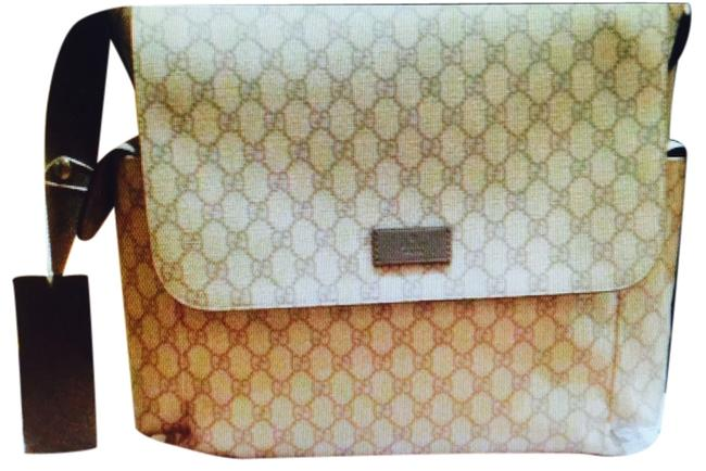 Item - Grey and Sand Leather Diaper Bag