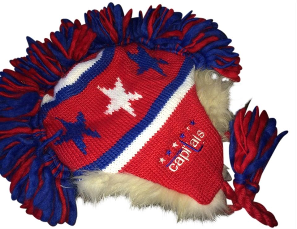 Red White And Blue Winter Knit With Mohawk Washington Capitals Hat