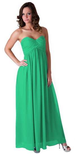 Green Chiffon Strapless Sweetheart Long Formal Dress Size 14 (L)