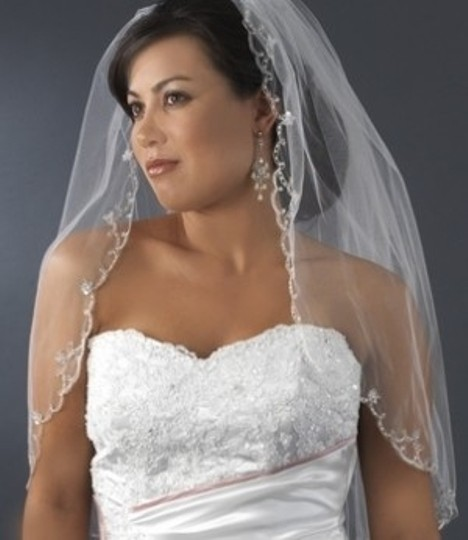 Elegance by Carbonneau White Or Ivory Medium Beaded Scallop Edge Elbow Length Bridal Veil