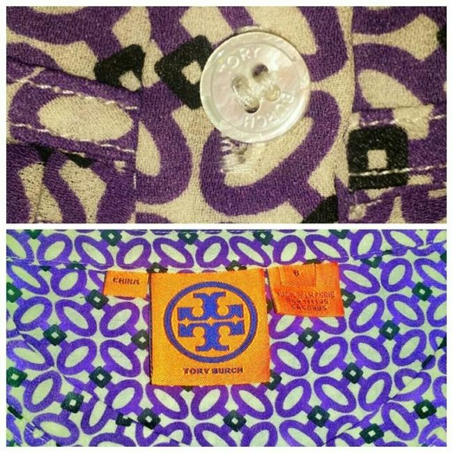 Tory Burch Top Purple, White and Black Geometric Print