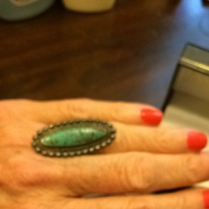 Vintage Havana Beautiful Turquoise And Sterling Silver Vintage Cocktail Ring