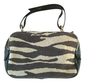 Kate Spade Super Cute Leather And Fabric Animal Print Small Satchel in brown