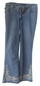 Karen Kane Denim Embroidered Vintage Flare Leg Jeans-Light Wash