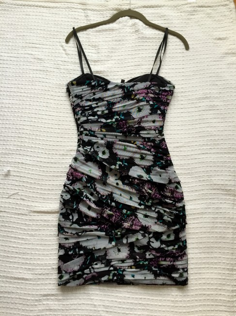 BCBGMAXAZRIA Ruched Party Floral Strapless Sweetheart Dress